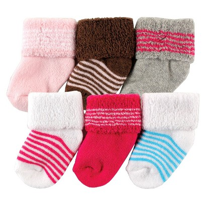 Luvable Friends™ Newborn Girls' 6 Pack Solid and Stripe Socks - Pink 0-3 M