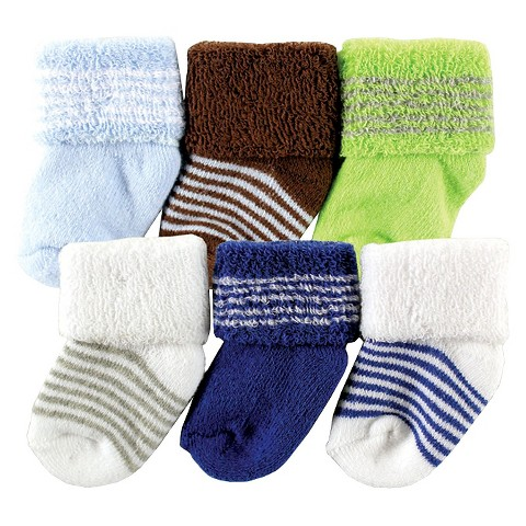 Luvable Friends™ Newborn 6 Pack Solid and Stripe Socks - Green 0-6 M