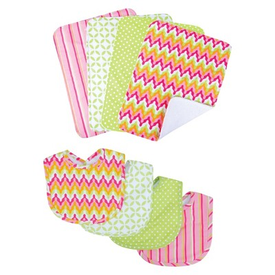 Trend Lab Savannah 8pc Bib and Burp Cloth Set