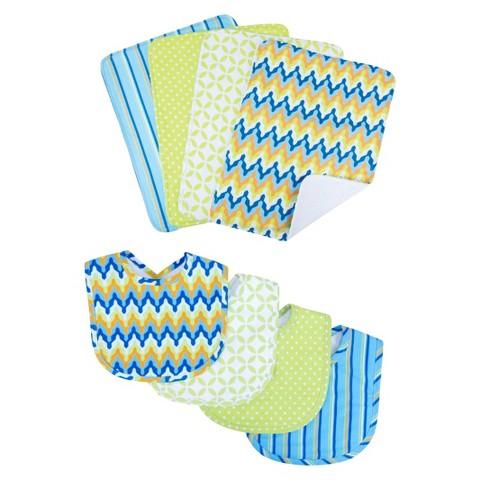 Levi 8pc Bib and Burp Cloth Set