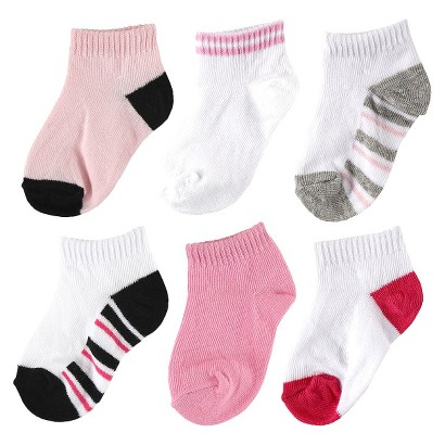 Luvable Friends™ Infant Girls' 6 Pack No-Show Striped Ankle Socks - Pink