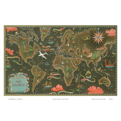 Art.com - Air France World Map Flight Ro