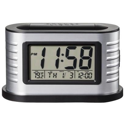 Crosley LCD Alarm Clock - Brushed Aluminum/Black