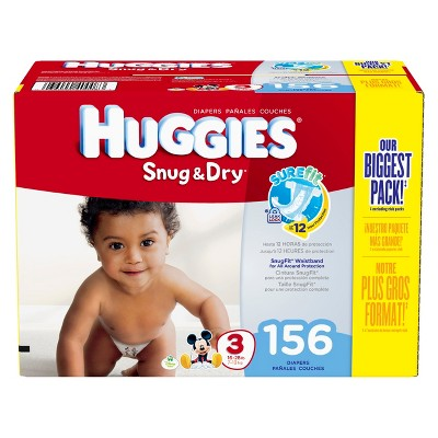 HUGGIES® Snug & Dry Diapers Giant Pack - Size 3 (156 Count)
