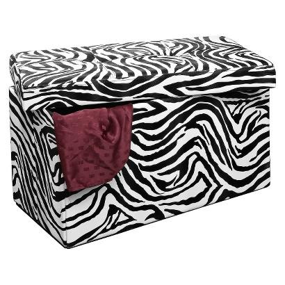 "Simplify 30"" Collapsible Storage Bench - Zebra Print"