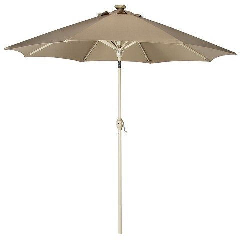 solar lighted patio umbrella product details page. Black Bedroom Furniture Sets. Home Design Ideas