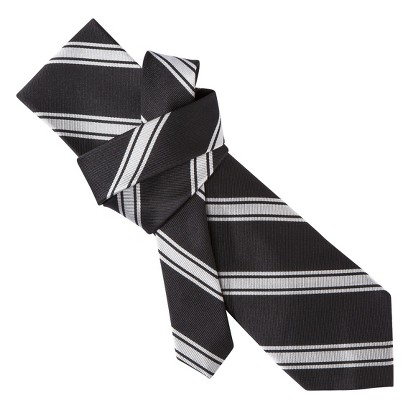 Merona® Men's Tie - Black/Grey Stripe