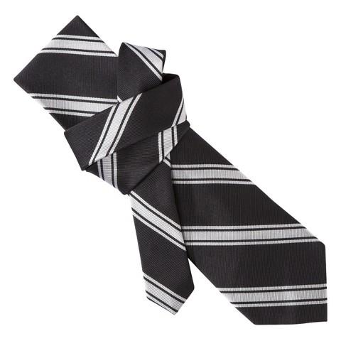 Merona® Men's Tie - Black/Grey Stripe