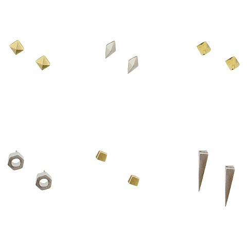 6 Shapes Assorted Earrings Set - Silver/Gold