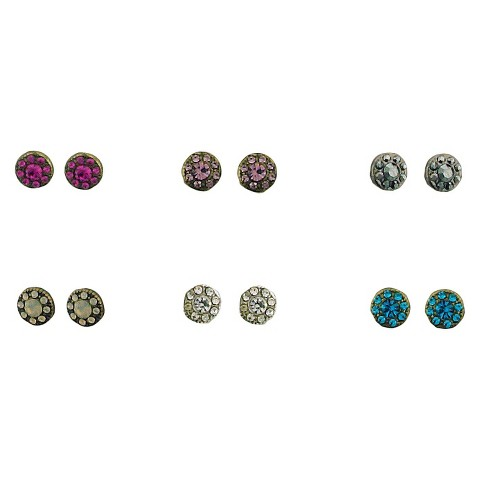 6 Set Round Stud Earrings - Multicolored