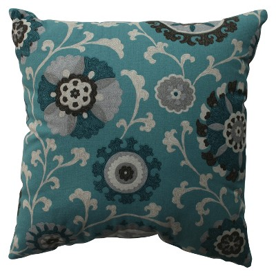 "Floral Vine Toss Pillow - Teal (16.5x16.5"")"