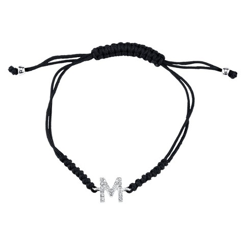 Silver Plated Crystal Wrap Bracelet with Initial M - Black