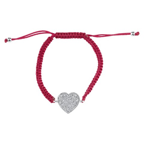 Silver Plated Pave Crystal Heart Wrap Bracelet - Blood Red