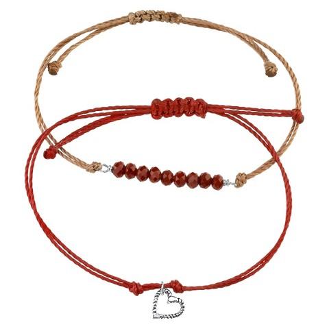 Sterling Silver Adjustable Double Bracelet - Grey/Red
