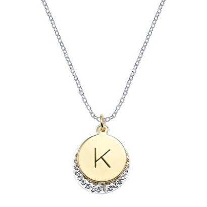 Silver Plated Necklace Charm with Initial K - Clear