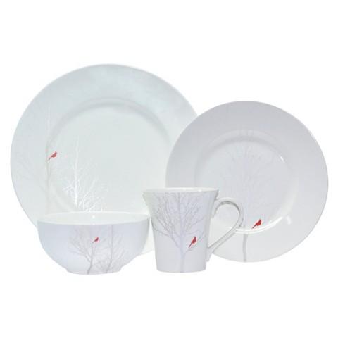 Winter Cardinal Round 16 piece Dinnerware Set