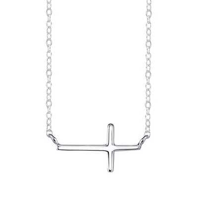 Sterling Silver Chain with Sideways Cross Pendant - Silver