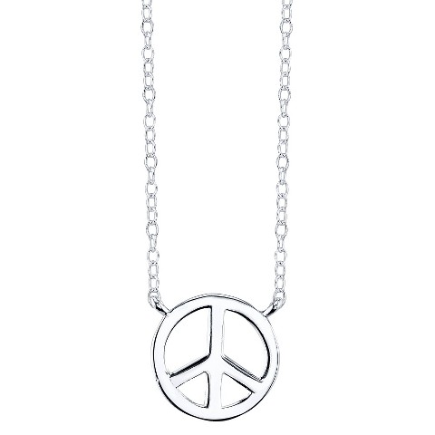 Sterling Silver Peace Pendant - Silver