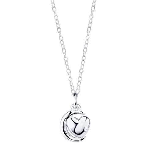 Sterling Silver Chain with Love Moon Pendant - Silver
