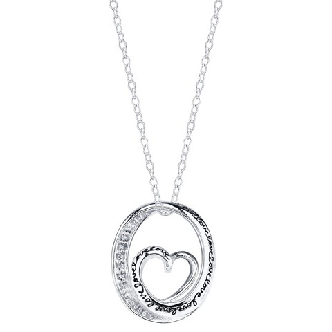 Sterling Silver Chain with Daughter Pave Heart Pendant - Silver