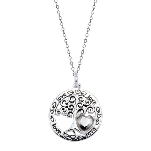 Sterling Silver Family Tree Pendant - Silver