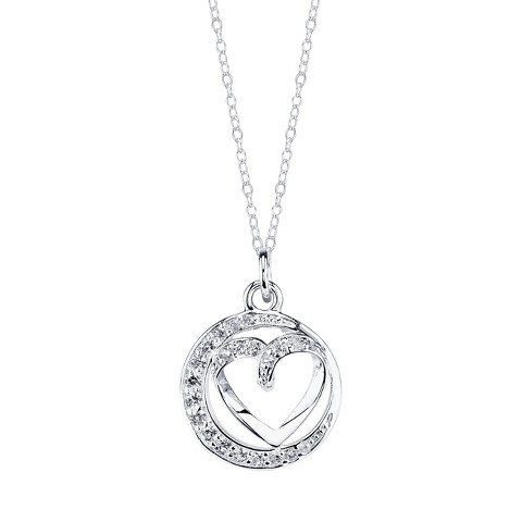 Sterling Silver Sister Pave Heart Pendant - Silver