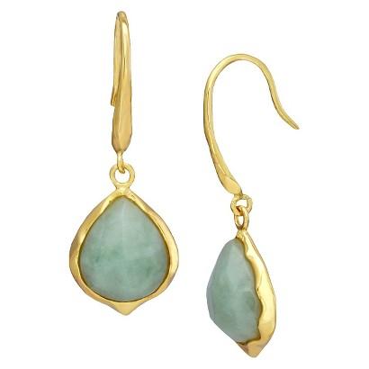 Teardrop Jade Earrings - Gold/Green
