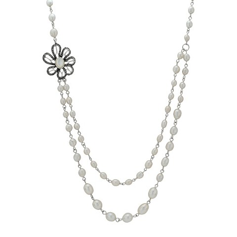 Marcasite and Pearl Necklace - Silver