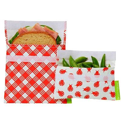 LunchSkins Reusable Sandwich and Reusable Snack Bag - Red Ladybug