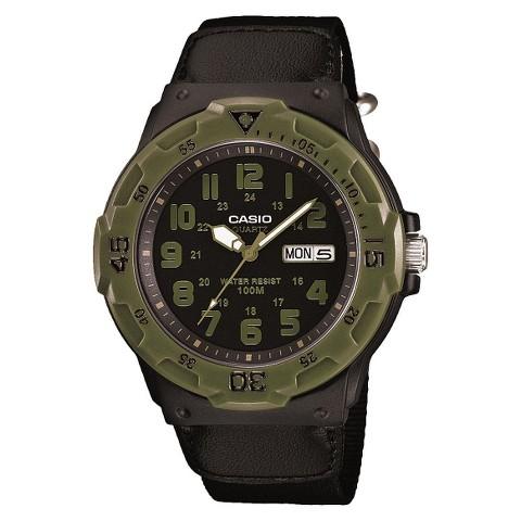 Casio Men's Cloth Strap Watch - Black/Green - MRW200HB-1BV