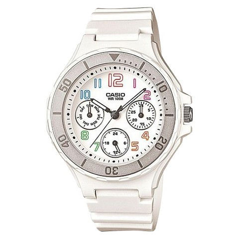 Casio Women's Bezel Watch - Silver/White - LRW250H-7B