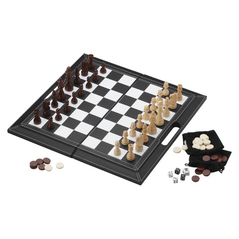 Mainstreet Classics 3 in 1 Chess/ Checkers/ Backgammon Leatherette Game Pack