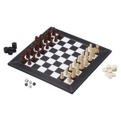 ECOM Mainstreet Classics 3 in 1 Chess/ Checkers/ Backgammon Game  Slate
