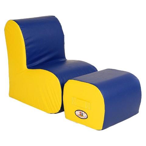 foamnasium™ Cloud Chair/Ottoman Set Play Furniture - Blue/ Yellow
