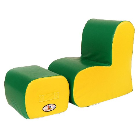 foamnasium™ Cloud Chair/Ottoman Set Play Furniture - Green/ Yellow