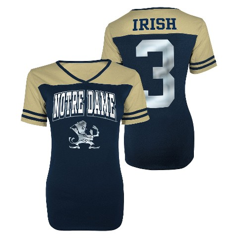 Juniors' Notre Dame Fighting Irish V-Neck Shirt - Navy