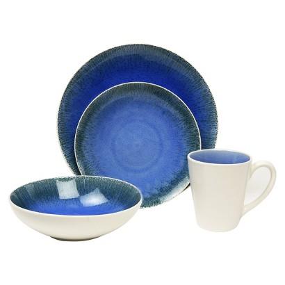 Baum Bros. Fused Blue 16 piece Dinnerware Set