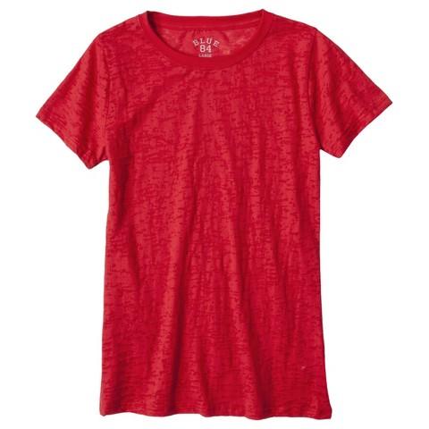 Junior's Short Sleeve Burnout red T-Shirt