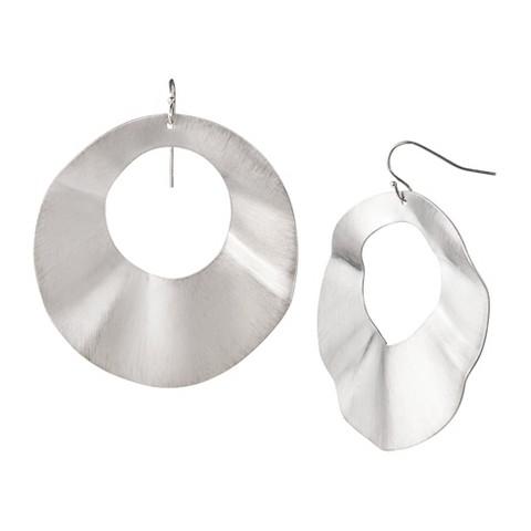 Wavy Disc Earrings - Silver