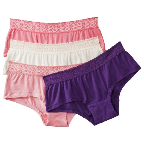 Fruit of the Loom® Women's Modal Lace Boyshort 4-Pack (Colors May Vary)