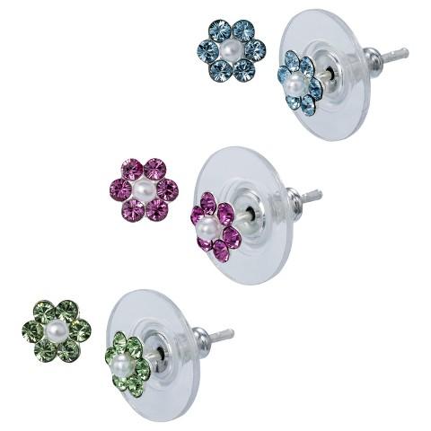 Sterling Silver 3 Pair Set of Crystal Flower Earrings - Silver