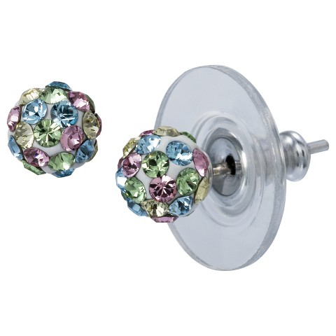 Sterling Silver Pastel Crystal Ball Earrings - Silver