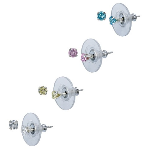 Sterling Silver 4 Pair Set of Color Cubic Zirconia Stud Earrings - Silver