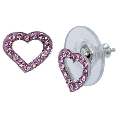 Sterling Silver Crystal Heart Stud Earrings - Pink