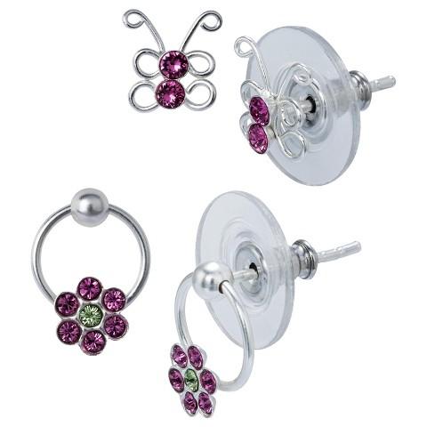 Sterling Silver 2 Pair Set of Crystal Stud Earrings - Silver