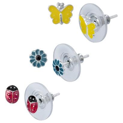 Sterling Silver 3 Pair Set of Enamel Earrings - Silver