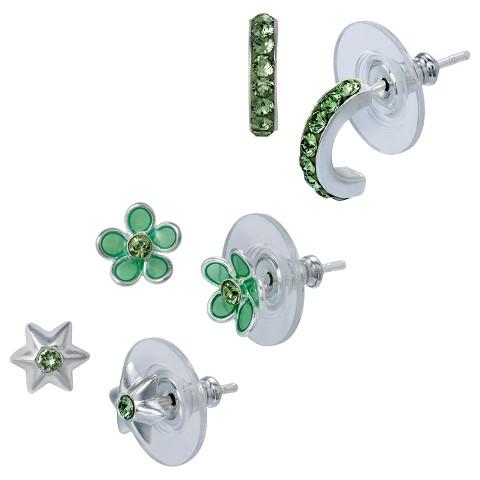 Sterling Silver 3 Pair Set of Star Hoop Earrings - Green