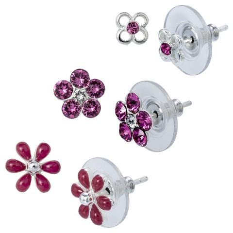 Sterling Silver 3 Pair Set of Flower Earrings - Pink