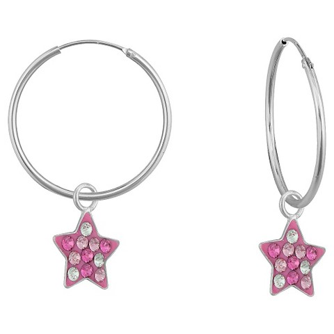 Sterling Silver Set of Charm Earrings - Pink