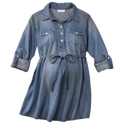 Maternity Light Wash Denim Top Blue